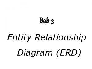 Bab 3 Entity Relationship Diagram ERD Entity Relationship