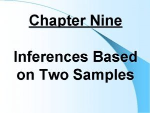 Chapter Nine Inferences Based on Two Samples Hypothesis