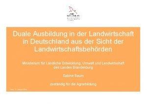 Duale Ausbildung in der Landwirtschaft in Deutschland aus
