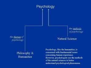 Psychology the methods of psychology themes of psychology