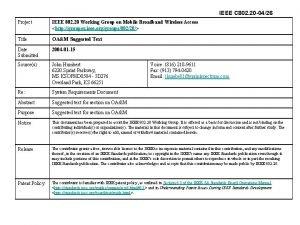 IEEE C 802 20 0426 Project IEEE 802