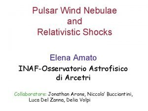Pulsar Wind Nebulae and Relativistic Shocks Elena Amato