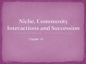 Niche Community Interactions and Succession Chapter 19 Polar