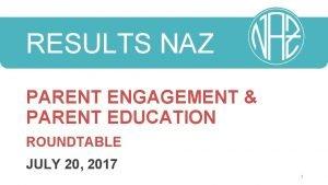 RESULTS NAZ PARENT ENGAGEMENT PARENT EDUCATION ROUNDTABLE JULY