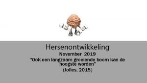 Hersenontwikkeling November 2019 Ook een langzaam groeiende boom