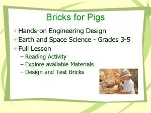 Bricks for Pigs Handson Engineering Design Earth and