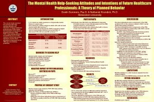 The Mental Health HelpSeeking Attitudes and Intentions of