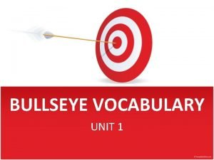 BULLSEYE VOCABULARY UNIT 1 Federalism Good Luck on
