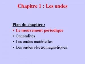 Chapitre 1 Les ondes Plan du chapitre Le