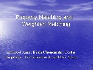Property Matching and Weighted Matching Amihood Amir Eran