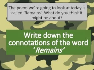The poem were going to look at today