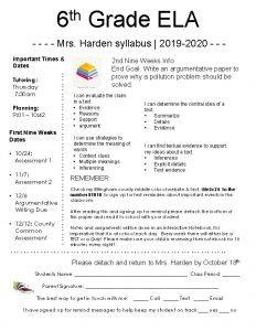 th 6 Grade ELA Mrs Harden syllabus 2019