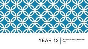YEAR 12 Business Summer Homework Task SUMMER HOMEWORK