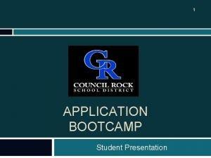 1 APPLICATION BOOTCAMP Student Presentation Application Process Parent