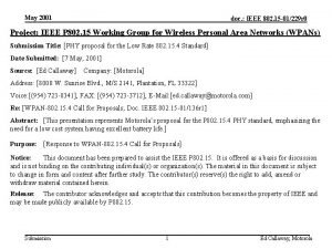 May 2001 doc IEEE 802 15 01229 r