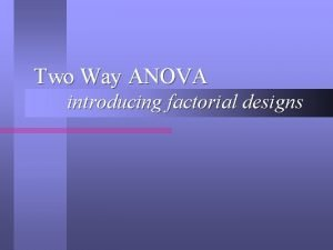 Two Way ANOVA introducing factorial designs Interactions Interactions