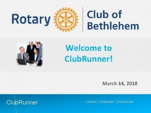 Welcome to Club Runner March 14 2018 Club