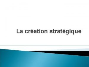 La cration stratgique La stratgie de cration Rappelons