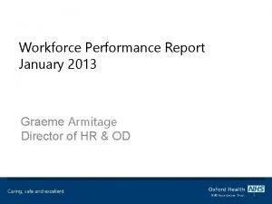 Workforce Performance Report January 2013 Graeme Armitage Director