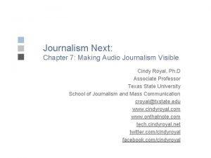Journalism Next Chapter 7 Making Audio Journalism Visible