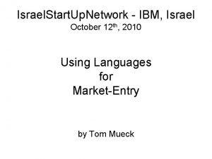 Israel Start Up Network IBM Israel October 12