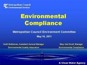 Metropolitan Council Environmental Services Environmental Compliance Metropolitan Council