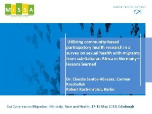 Utilizing communitybased participatory health research in a survey