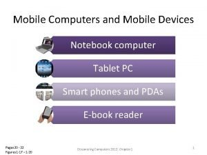Mobile Computers and Mobile Devices Notebook computer Tablet