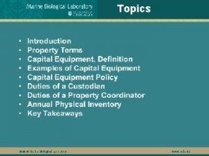 Topics 2016 Marine Biological Laboratory www mbl edu