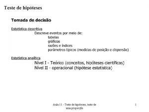 Teste de hipteses Aula 11 Teste de hipteses