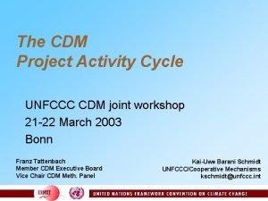 The CDM Project Activity Cycle UNFCCC CDM joint
