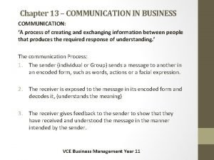 Chapter 13 COMMUNICATION IN BUSINESS COMMUNICATION A process