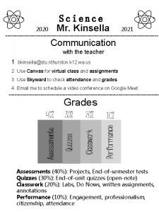 2020 Science Mr Kinsella 2021 Communication with the