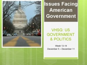 Issues Facing American Government VHSG US GOVERNMENT POLITICS