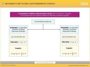 MOVIMIENTO RECTILNEO UNIFORMEMENTE VARIADO El movimiento rectilneo uniformemente