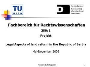 Fachbereich fr Rechtswissenschaften 2801 Projekt Legal Aspects of