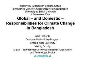 Society for Bangladesh Climate Justice Seminar on Climate