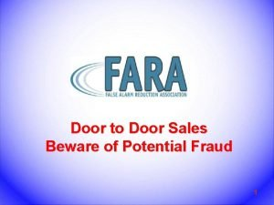 Door to Door Sales Beware of Potential Fraud