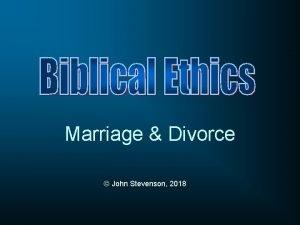 Marriage Divorce John Stevenson 2018 Genesis 1 26