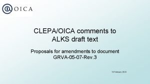 CLEPAOICA comments to ALKS draft text Proposals for