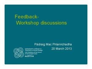 Feedback Workshop discussions Pdraig Mac Fhlannchadha 20 March