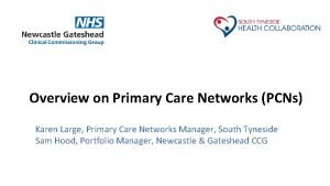 Overview on Primary Care Networks PCNs Karen Large