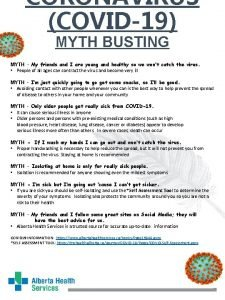 CORONAVIRUS COVID19 MYTH BUSTING MYTH My friends and
