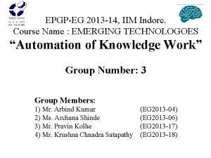 EPGPEG 2013 14 IIM Indore Course Name EMERGING
