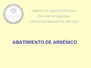 Instituto de Ingeniera Qumica Facultad de Ingeniera Universidad