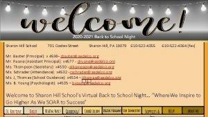 Sharon Hill School 701 Coates Street Sharon Hill