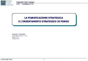 Universit Carlo Cattaneo LIUC Castellanza VA LA PIANIFICAZIONE