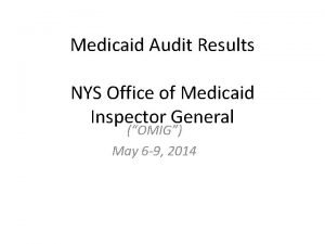 Medicaid Audit Results NYS Office of Medicaid Inspector