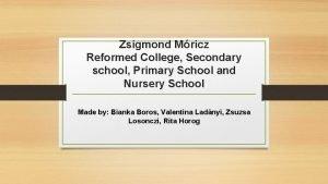 Zsigmond Mricz Reformed College Secondary school Primary School
