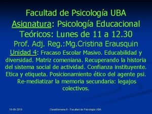 Facultad de Psicologa UBA Asignatura Psicologa Educacional Tericos